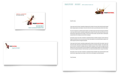 Pest Control Services Business Card & Letterhead Template