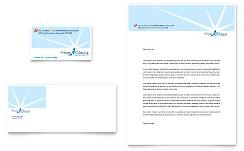 House Cleaning & Housekeeping Business Card & Letterhead Template