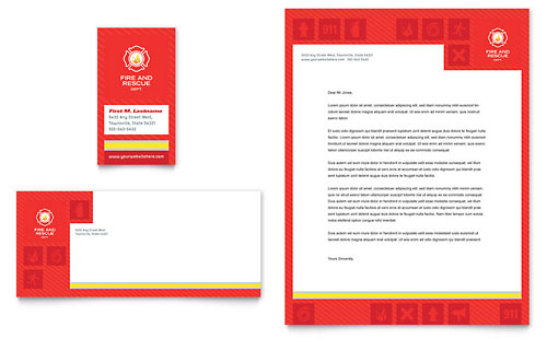 Fire Safety Business Card & Letterhead Template