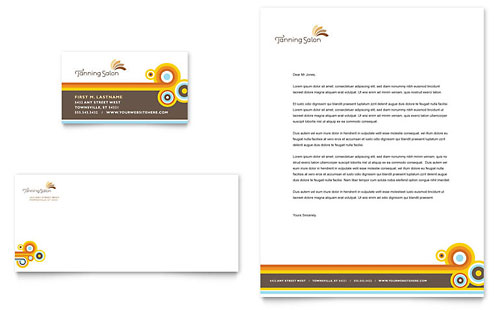 Tanning Salon Business Card & Letterhead Template