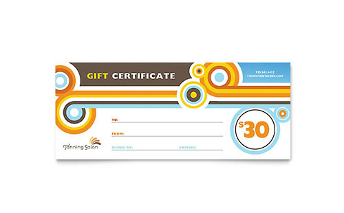 Tanning Salon Gift Certificate Template
