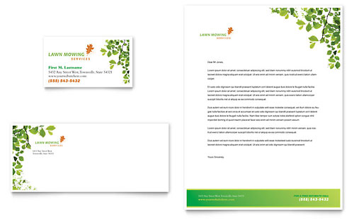 Lawn Mowing Service Business Card & Letterhead Template