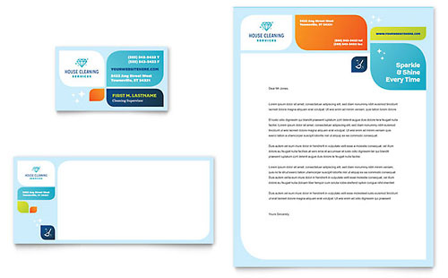Cleaning Services Business Card & Letterhead Template