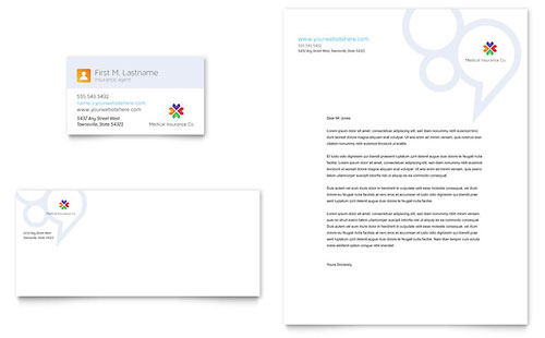 Medical Insurance Business Card & Letterhead Template