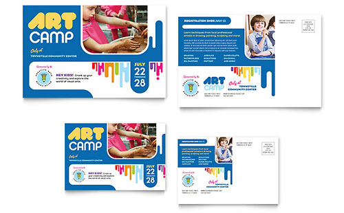 Kids Art Camp Postcard Template
