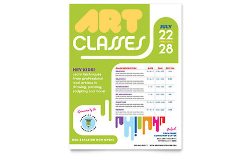 Kids Art Camp Class Flyer Template