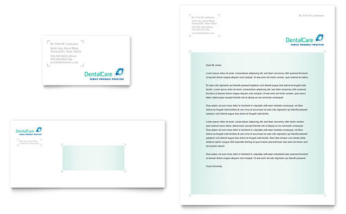 Dental Care Business Card & Letterhead Template