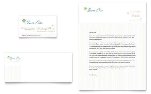 Elder Care & Nursing Home Business Card & Letterhead Template