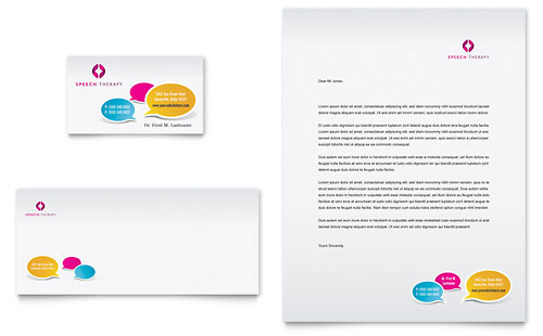 Speech Therapy Education Business Card & Letterhead Template