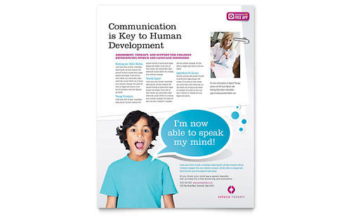 Speech Therapy Education Flyer Template