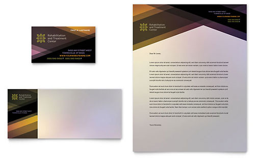 Rehab Center Business Card & Letterhead Template