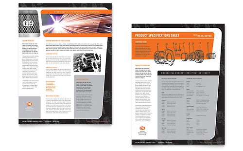 Manufacturing Engineering Datasheet Template
