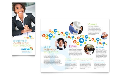 Job Expo & Career Fair Tri Fold Brochure Template