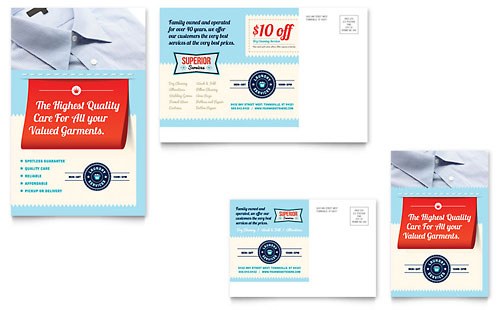 Laundry Services Postcard Template
