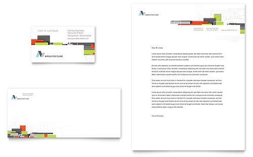 Architectural Design Business Card & Letterhead Template