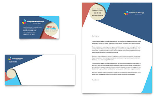 Corporate Strategy Business Card & Letterhead Template