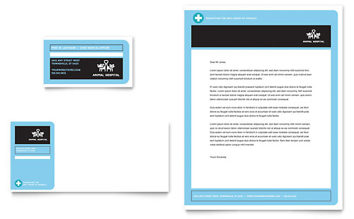 Animal Hospital Business Card & Letterhead Template