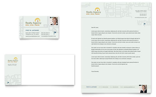 Real Estate Agent & Realtor Business Card & Letterhead Template