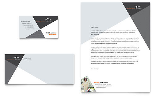 Contemporary & Modern Real Estate Business Card & Letterhead Template