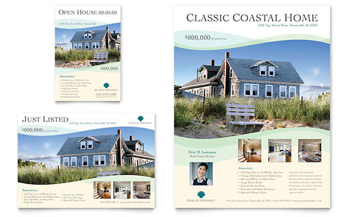 real estate flyers templates. Coastal Real Estate
