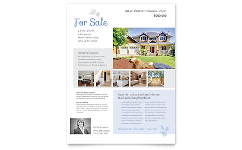 Real estate agent flyer templates real estate for House for sale brochure template