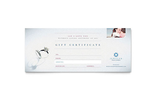 Jeweler & Jewelry Store Gift Certificate Template