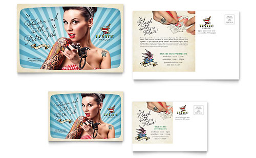 Body Art & Tattoo Artist Postcard Template