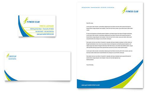 Sports & Health Club Business Card & Letterhead Template