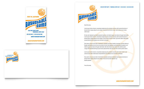 Basketball Sports Camp Business Card & Letterhead Template