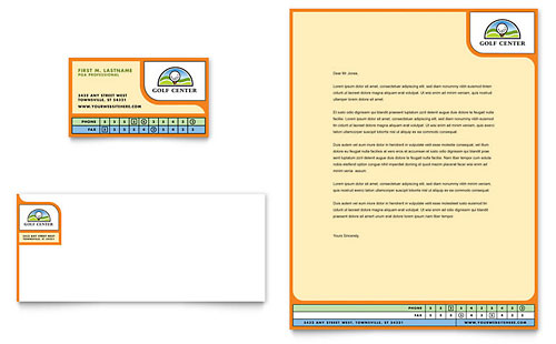 Golf Instructor & Course Business Card & Letterhead Template