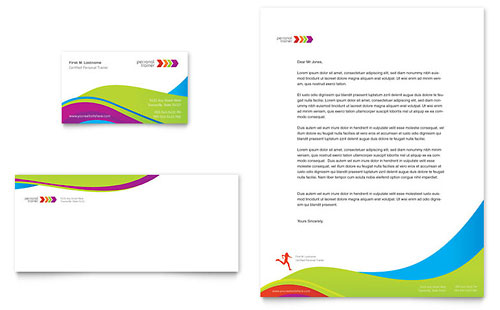 Personal Trainer Business Card & Letterhead Template