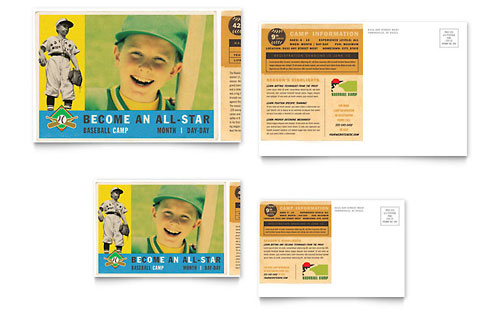 Baseball Sports Camp Postcard Template