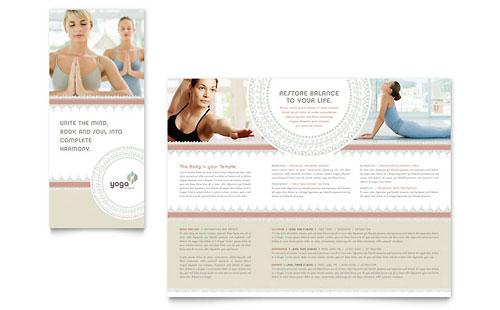 Pilates & Yoga Tri Fold Brochure Template