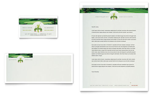Golf Course & Instruction Business Card & Letterhead Template