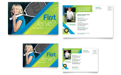 Tennis Club & Camp Postcard Template