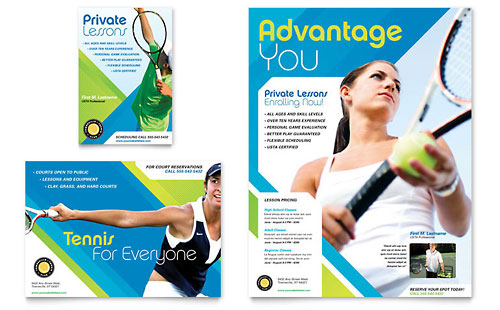 Tennis Club & Camp Flyer & Ad Template