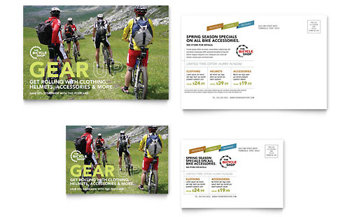 Bike Rentals & Mountain Biking - Postcard Template