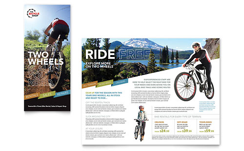 Bike Rentals & Mountain Biking Tri Fold Brochure Template