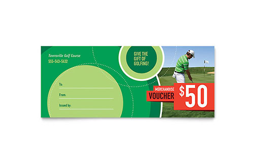 Golf Tournament Gift Certificate Template