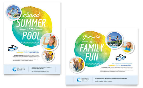 Community Swimming Pool Poster Template