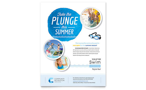 Community Swimming Pool Flyer Template