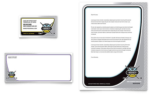 Junior Hockey Camp Business Card & Letterhead Template
