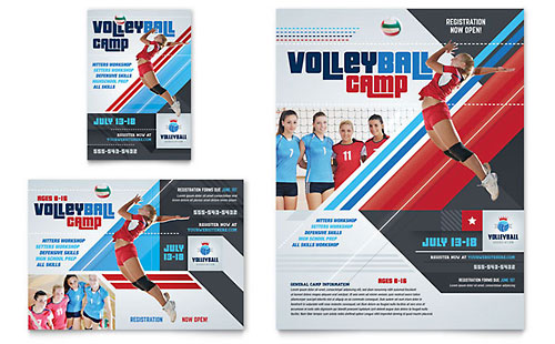 Volleyball Camp Flyer & Ad Template