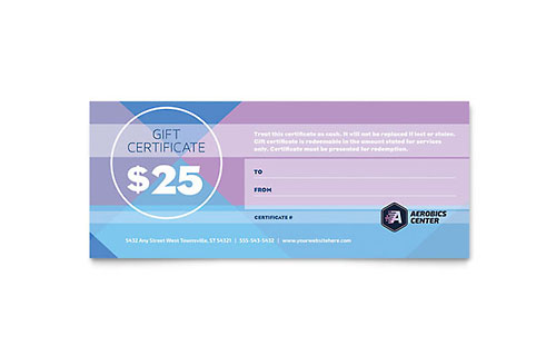 Aerobics Center Gift Certificate Template