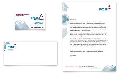 High-Tech Manufacturing Business Card & Letterhead Template