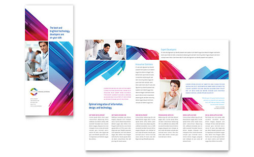 Software Solutions Tri Fold Brochure Template