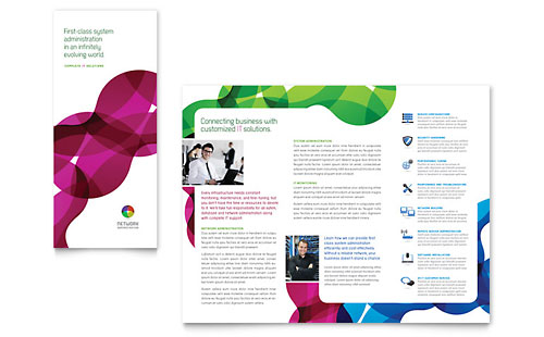 Network Administration Tri Fold Brochure Template