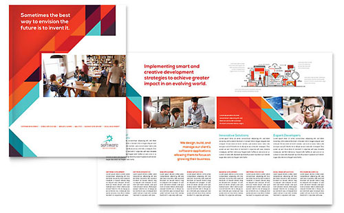 Application Software Developer Print Design Brochure Template