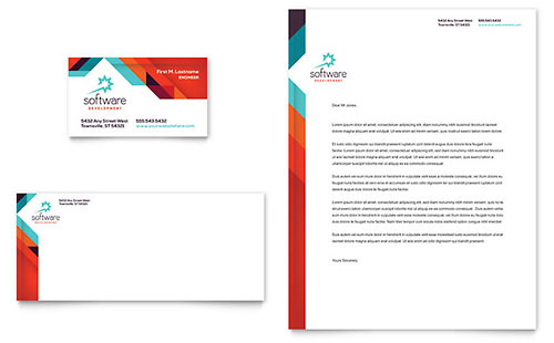 Application Software Developer Business Card & Letterhead Template