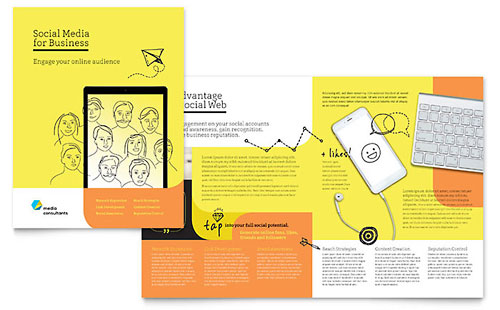 Social Media Consultant Professional Marketing Brochure Template